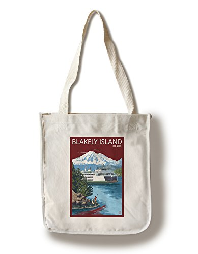 Blakely Island, Washington - Ferry in Passage (100% Cotton Tote Bag - Reusable, Gussets, Made in America) (Made In Washington Gifts)