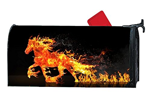 Tymeihao Fire Horse Magnetic Mailbox Cover Standard Magnetic Mailbox Cover Fits Standard-Sized Mailboxes, 6.5''''W x 19''''L by Tymeihao