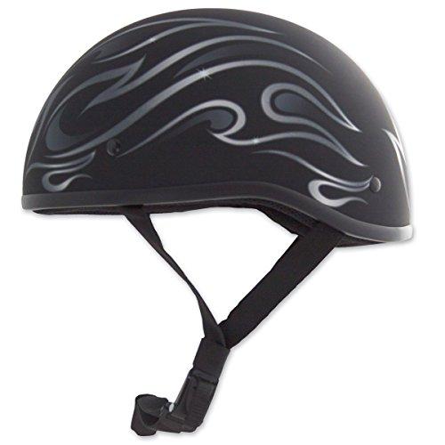 Zox Mikro Old School Graphics Helmet Flame Matte Black (Black, Medium)