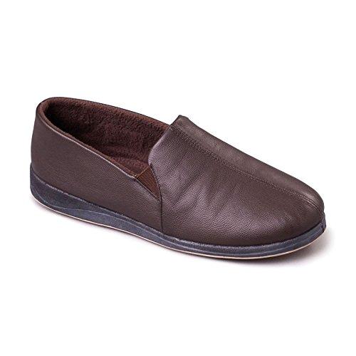 Padders Herren Leder Slipper Ben | Weiches Leder Hausschuhe mit Memory Foam Einlegesohle | Breite G Passmaß | 30mm Ferse Braun