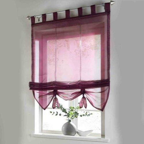 XYYSSM, Sheer Window Curtain Burnout Roman Shade U-Hook Adjustable Balloon Shades for Kitchen Bedroom Wine red