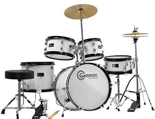 White Junior 5 Piece Drum Set Complete with Cymbals Stands & Hardware