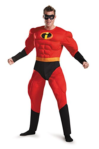 Disney Adult Men's The Incredibles Deluxe Mr. Incredible Costume with Muscles (X-Large (42-46))