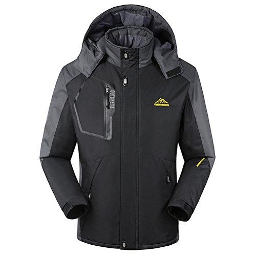 Magcomsen Men's Waterproof Mountain Fleece Jacket Windproof Ski Jacket Hooded ,Black-v2,US XL by MAGCOMSEN