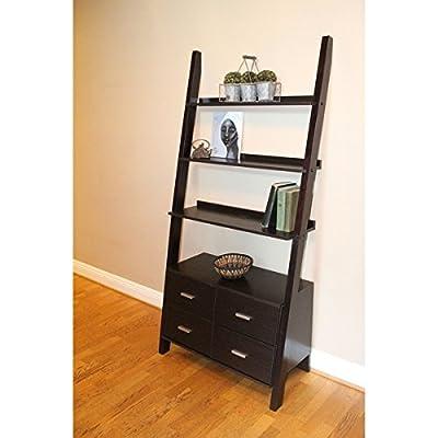 4D Concepts 8892501 Leaning Ladder Bookshelf, Walnut