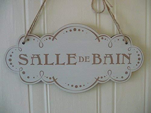 - 11.4x22.8cm Salle De Bains Sign French Shabby Chic Plaque Wooden Sign Bathroom Door Plaque Cloud bh 664137