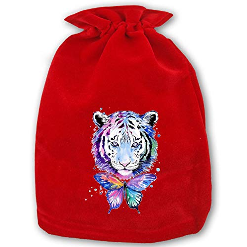 Red Soft Velvet Watercolor Tiger Pouches Bags with Drawstrings for Christmas Wedding Jewelry Gift Packaging