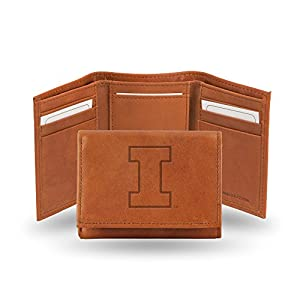 Rico Industries NCAA Illinois Illini Embossed Leather Trifold Wallet, Tan