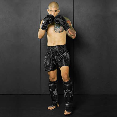 Elite Sports Muay Thai Gloves, Men's, Women's Best Kickboxing Pair of Breathable Gloves (Black, 10 oz)