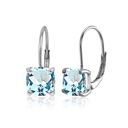 Sterling Silver Blue Topaz 7x7mm Cushion-Cut Leverback Earrings