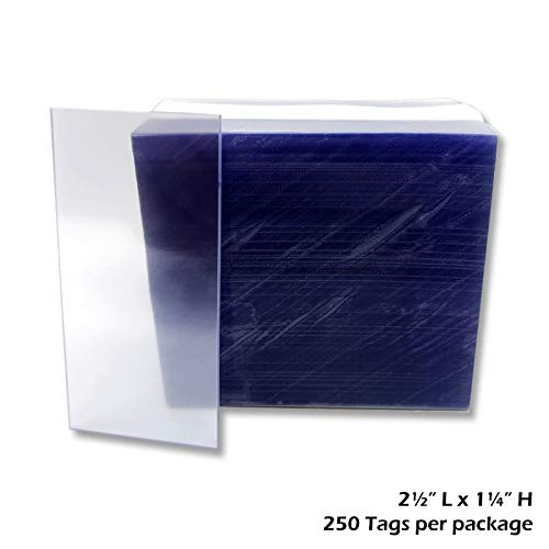 """1.25x2.5"""" Clear Plastic Tags, Shelf Label Holders - 1000 Pack"""