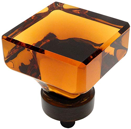 10 Pack - Cosmas 6377ORB-A Oil Rubbed Bronze Cabinet Hardware Square Knob with Amber Glass - 1-3/8