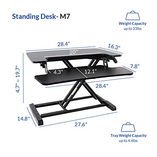 FLEXISPOT Stand Up Desk Converter 28 Inches Standing Desk Riser, Height Adjustable Home Office Desk with Deep Keyboard Tray for Laptop (M7B)