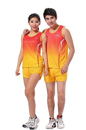 ストリーム水没なのでKINDOYO 男性 女性 通気 ソフト スポーツ服 トラックスーツ ランニング アンサンブル タンクトップ ショットパンツ 運動 イエロー 4XL-M 身長:185-190cm