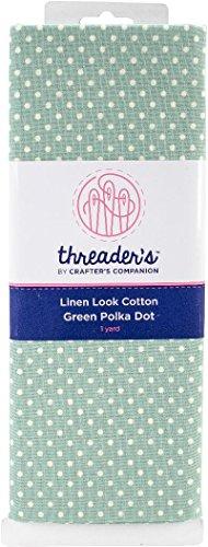 Crafter's Companion Green Polka Dot Threaders Linen Look Fabric 1yd