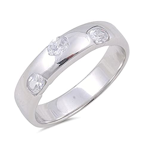 Wedding Clear CZ Beautiful Pebble Ring New .925 Sterling Silver Band Size 9 (RNG16215-9) (Pebble Band Ring)