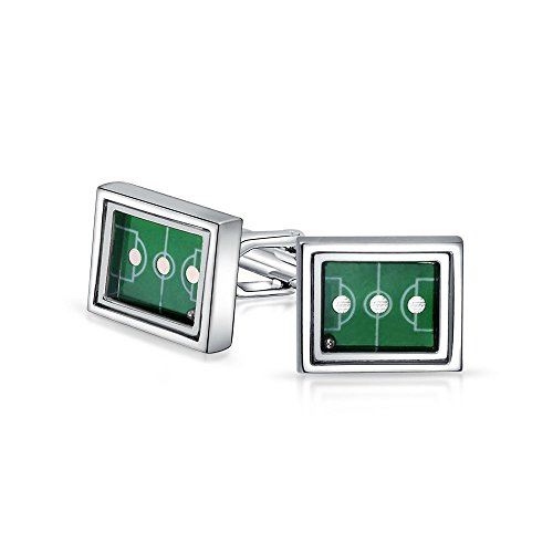 (Bling Jewelry Mens Sports Coach Green Soccer Field Cufflinks for Men Hinge Back Silver Tone Stainless)