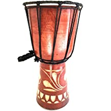 "Djembe Drum Bongo Congo African Drum Wooden Hand Drum Professional Sound - JIVE BRAND (9"" High - Painted/Carved)"