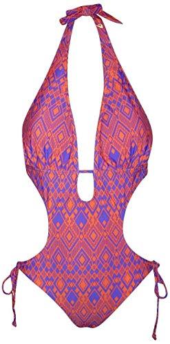 NWSC Women's Halter One Piece Monokini Swimsuit Bikini (XL (14), Org/Purple) ()