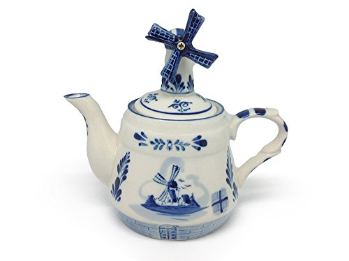 Essence of Europe Gifts E.H.G Blue Tea Pot with Windmill Lid