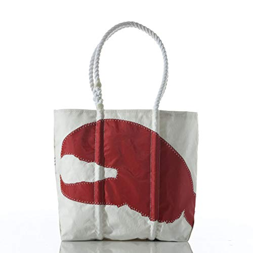 Sea Bags Recycled Sail Cloth Red Lobster Claw Tote Medium made in Maine