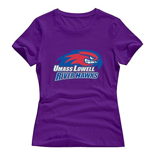 UMass Lowell River Hawks Girl Tee Shirts Size Medium Purple