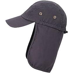 EPYA Outdoors UV Sun Protective Full Coverage Safari Hat w/Neck Flap Hat, Dark Gray