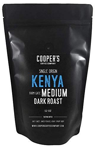 Kenya AA Medium-Dark Roast Coffee Beans, Micro Lot Single Origin Whole Bean Coffee, Farm Gate Direct Trade, Gourmet Coffee - 12 oz Bag