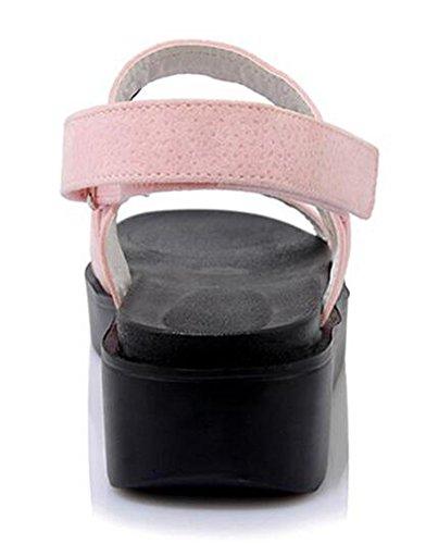 Easemax Kvinners Stil Imitasjon Av Semsket Kontrastfarge Krok Og Løkke Kile Medium Hæl Plattform Gladiator Sandaler Rosa
