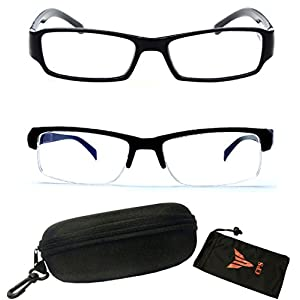 (#WYM850&ZC001 Blk) 2 Pairs 2 Styles -Half Frame & Full-Rim Myopia Eyeglasses Short Sight Glasses Nearsighted +INCLUDED FREE Hard Case (Strength: -350)