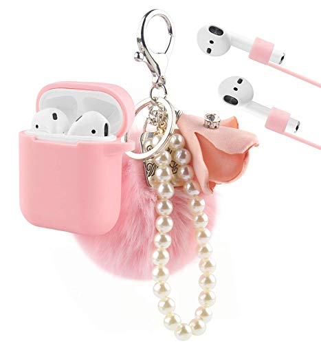 Airpods Case, KMMIN Airpods Accessories for Apple AirPods 1&2 Charging Case Premium Silicone Case Cover and Skin with Airpods Ear Hook Grips/Anti-Lost Cute Fluffy Pompom Keychain- Pink