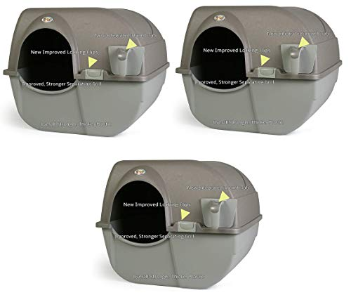 Omega Paw NRA15-1 Improved Roll 'n Clean Self Cleaning Litter Box, Regular, Pewter (3.(Pack))