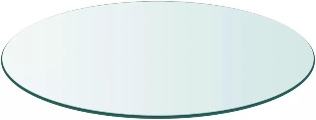 Vislone Cristal Redondo Tablero de Mesa Templado de Cristal para Mantener Superficie de Mesas de Comedor Mesas de Café Mesas de Jardín Transparente 500mm