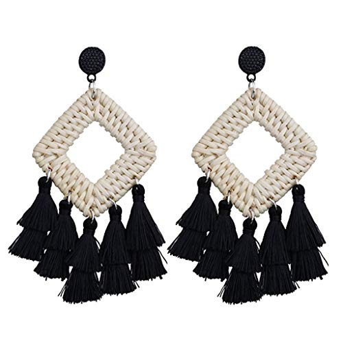 - iNoDoZ Bohemian Retro Handmade Drop Earrings Dangle Rattan Woven Tiered Tassel Earrings Ladies Fashion Jewelry