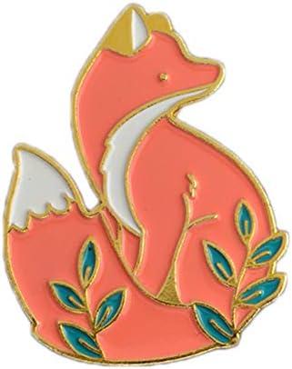 漫画フォックスピンゴールド森のブローチの動物キツネ子供用の ラペルピンバックルバッジジャケットバッグコートアクセサリーギフト