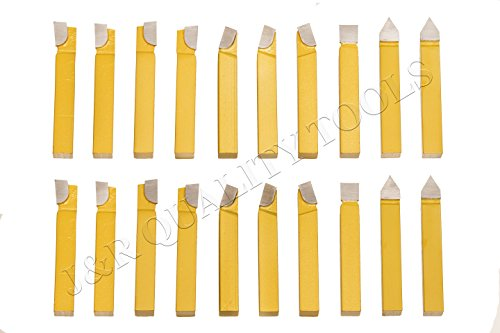 20pc 3/8'' Carbide Tip Tipped Cutter Tool Bit Cutting Set For Metal Lathe Tooling by steelex