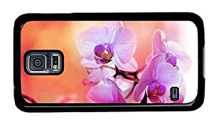 Hipster Samsung Galaxy S5 Cases rubber purple white orchids PC Black for Samsung S5