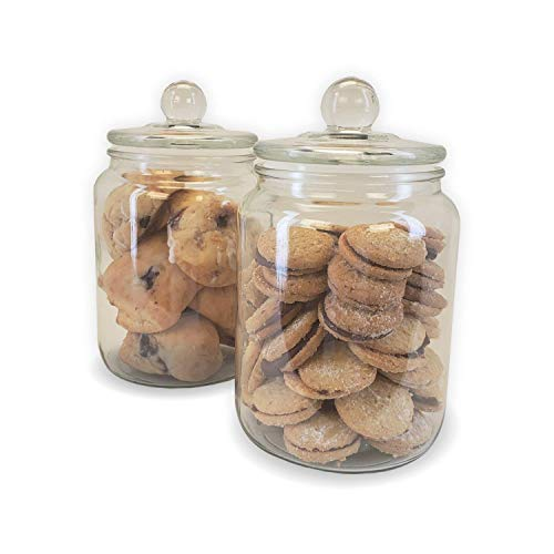 Airtight Glass Cookie and Candy Jars With Lids, Glass Jars For Food Storage, Set Of 2 (0.5 Gallon) (Cookie Jars Set)