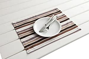 Antibes 4x Outdoor Table Place Mat Set Brown / Beige 30 x 40 cm, Wipe-Clean
