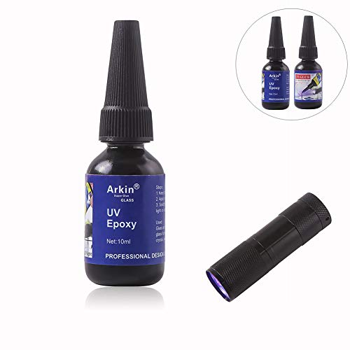 1 Bottle Liquid UV Epoxy Resin Type Art Glue + LED Flashlight Light Lamp Ultraviolet Fast Curing Adhesive Glass Crystal Clear Jewelry Metal Craft Super Strong Welder Activated Bonding Tool Kit Sealant