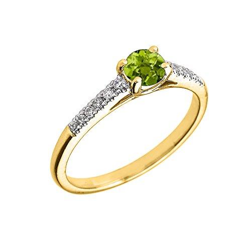 Bague Femme/ Bague De Fiançailles 10 Ct Or Jaune Diamant Et Péridot