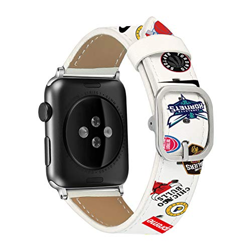 Clatune Genuine Leather Band Strap Fashionable Printed Wristband Replacement Bracelet Compatible with 44mm 42mm Apple Watch Series 4/3/2/1, White