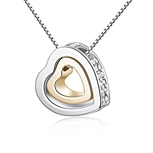 Christmas Gift Double Love Heart Shape Pendant Necklace,Crystal Love Style Stainless Steel Necklace Jewelry(White Gold+19k Gold)