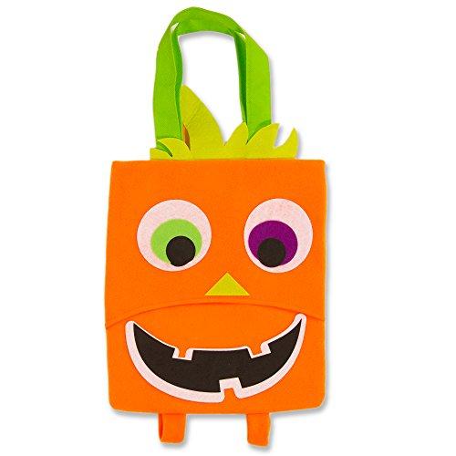 Halloween Trick or Treat Bag Kids Toddler with Backpack Straps (Pumpkin Design Bags, Bonus Halloween Party Pack) (Goody Bags For Halloween In Preschool)