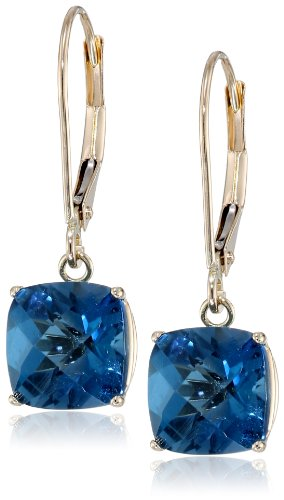 10k Yellow Gold Cushion Checkerboard Cut London Blue Topaz Leverback Earrings (Blue Topaz Cushion Earrings)