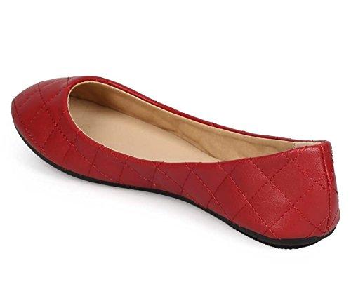 Aggiornare Serie Demi Womens Ballerina Balletto Slip On Flats Rosso Brevettato