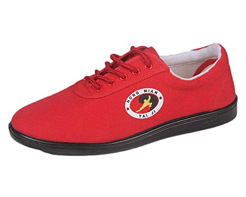 Unisex Kung Fu Shoes Breathable Comfort Non-Slip Beef Tendon Sole Indoor Tai Chi Training Red 40