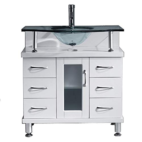 (Virtu USA Vincente 32 inch Single Sink Bathroom Vanity Set in White w/Integrated Round Sink, Clear Tempered Glass Countertop, No Faucet, No Mirror - MS-32-G-WH )