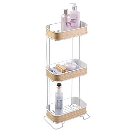 mDesign Repisa para baño autoportante de metal y madera - Estanteria para ducha y baño -