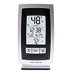 AcuRite Digital Indoor/Outdoor Thermometer with Intelli-Time Clock (Silver/Gray)